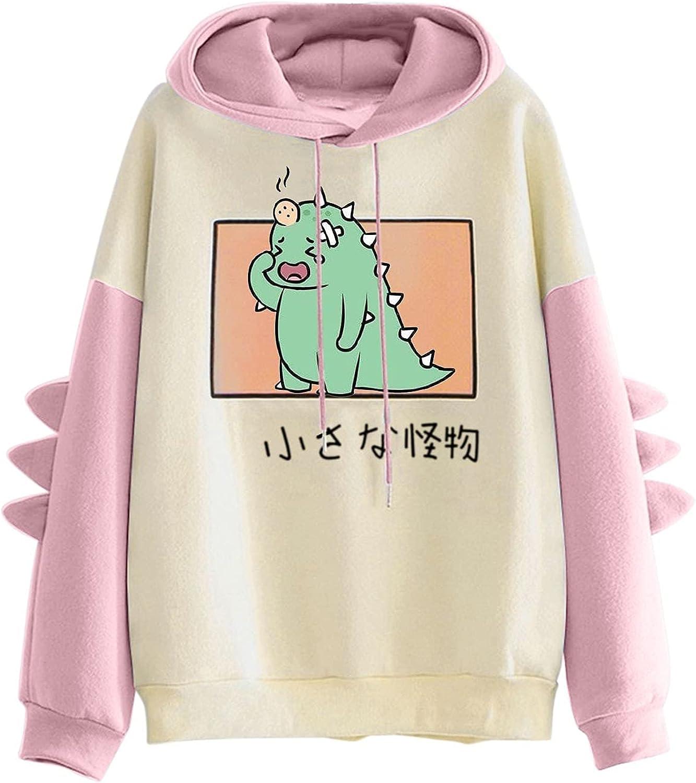 TAYBAGH Cute Hoodie for Women,Womens Teen Girls Fashion Dinosaur Print Long Sleeve Hoodies Sweatshirt Casual Blouse Tops