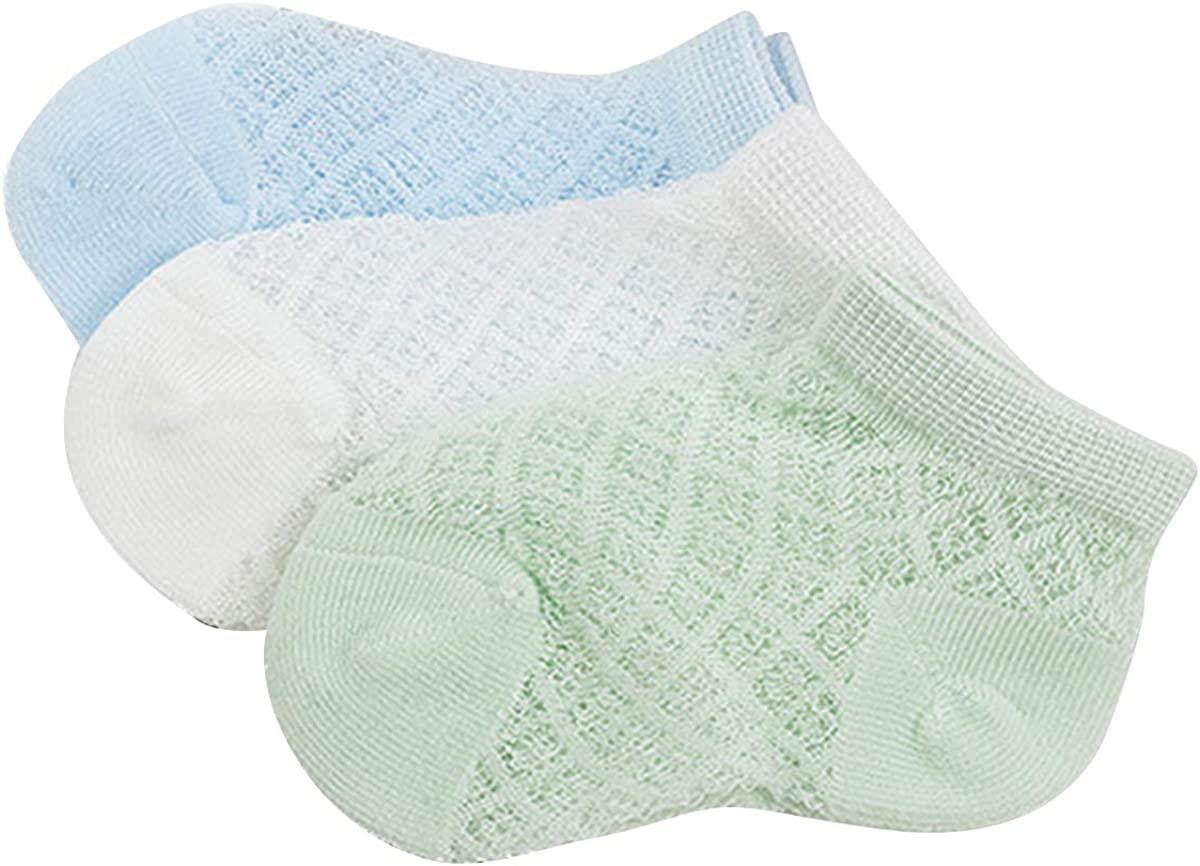 Camidy 3PC Summer Toddler Socks Breathable Cotton Thin Mesh Socks for Baby Boy and Girl