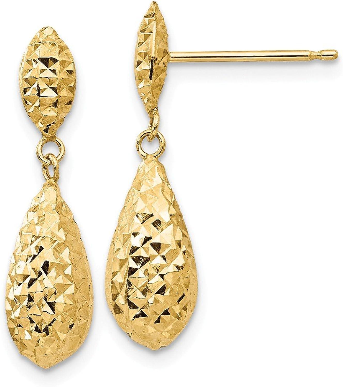 14k Diamondcut Puff Teardrop Dangle Earrings