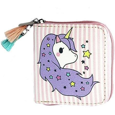 HENGSONG Niedlich Einhorn Geldbörse Geldbeutel mit Reißverschluss PU Leder Kleine Kurze Portemonnaie Brieftasche für Damen Mädchen (Rosa)