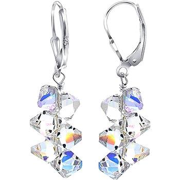 Cluster Swarovski Elements Clear Crystal Leverback Drop Handmade 925 Sterling Silver Earrings