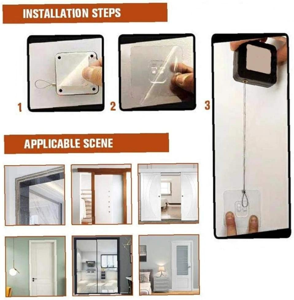 M/ás Cerca de la Puerta del Sensor Punch-Inducci/ón Libre Puerta autom/ática del Cable de 1,2 m Auto Cierre Blanca para Puertas de Dormitorio de Oficina