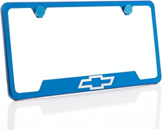 KA Depot One Fit Chevy Logo on Candy Blue Chrome Bottom Cut Out Stainless Steel License Plate Frame Holder Front Or Rear Bracket Laser Etch Engraved Aluminum Screw Cap