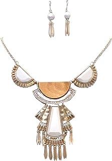 Mega Set collana orecchini pendente sunglory glitzs legno cristallo trasparente avorio opaco