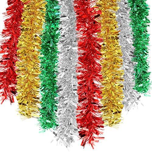 HOWAF 8 Pezzi Totalmente 14m Ghirlanda Natalizia per Albero di Natale, Natale Tinsel Ghirlanda Fili Albero di Natale Decorazioni Natalizie, Rosso, Argento, Oro, Verde