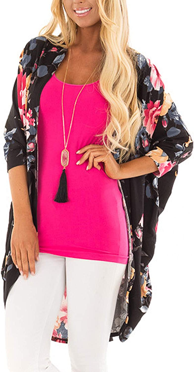 ChainJoy Women's Boho Floral Kimono Cardigan Capes Loose Cover up Blouse S3XL