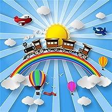 Leyiyi 6x6ft Kids Happy Birthday Backdrop 1st B Day Banner Baby Shower Rainbow Background Cartoon Train Toy Airplane Model Hot Air Ballon Striped Sunbeam Cake Table Portrait Vinyl Prop Studio Booth