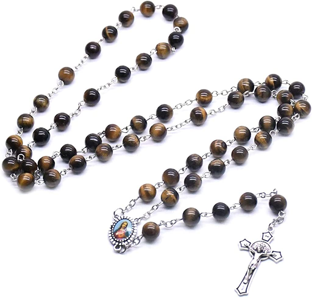 BUZHI Rosary Prayer Beads Tiger Eye Stone Rosary Necklace Mala Beads Necklace Holy Soil Medal Cross Crucifix Christian Lucky Amulet Jewelry Gift
