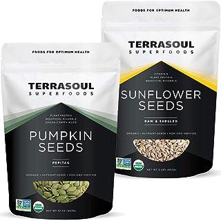 Terrasoul Superfoods Organic Pumpkin Seeds 2lb + Organic Sunflower Seeds 2lb Bundle