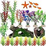 LAVECAR Juego de 25 decoraciones para peceras artificiales para acuario con escondite de tronco, cueva de barril de roble roto, plantas artificiales de espiga marina, estrellas de mar, peces pequeños
