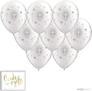 Andaz Press Printed Latex Balloon Party Kit with Gold Cards & Gifts Sign, Cross Doves Silver, 8-Pk, for Christening, Baptism, Communion
