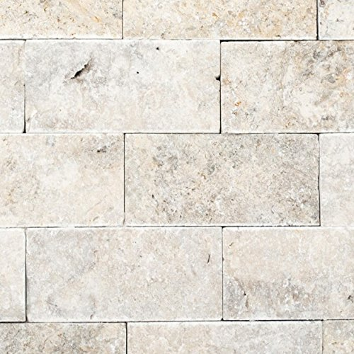 Mosaik Fliese Travertin Naturstein weißgrau Brick Splitface silber Travertin 3D für WAND BAD WC DUSCHE KÜCHE FLIESENSPIEGEL THEKENVERKLEIDUNG BADEWANNENVERKLEIDUNG Mosaikmatte Mosaikplatte