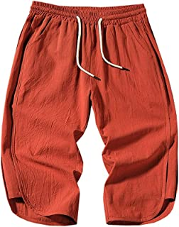 Meigeanfang Womens Casual Striped Print Straight Pants Comfort Linen Drawstring Cropped Trousers Nine Pants