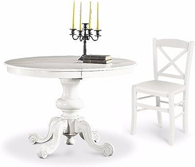 L Aquila Design Arredamenti Classico Tavolo Da Pranzo Shabby Chic Bianco Rotondo Allungabile Diametro 120 1320 Amazon It Casa E Cucina