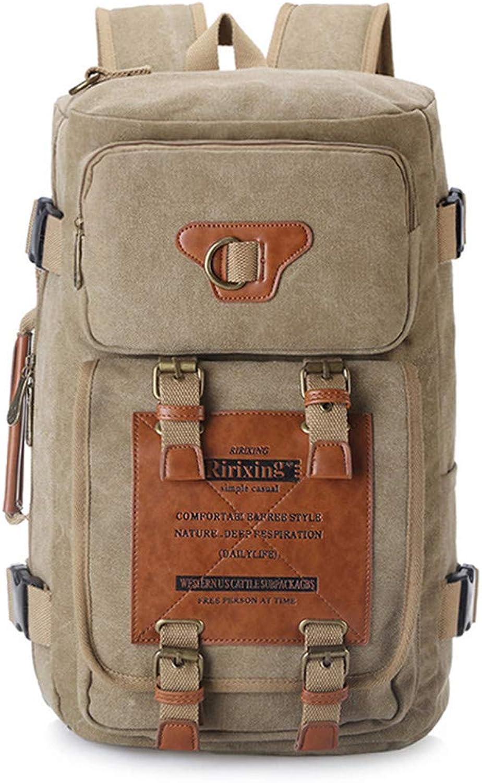 HENDTOR Outdoor Camping Trekking Reisen Rucksack Multifunktions Handtasche Mnner Frauen Leinwand Sporttasche Khaki 30-40L