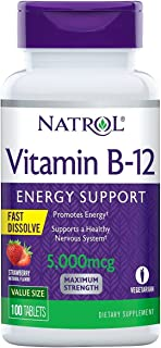 Natrol Vitamin B12 Fast Dissolve Tablets, Promotes Energy, Supports a Healthy Nervous System, Maximum Strength, Strawberry...