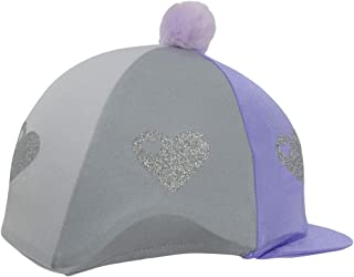 HyFashion Girls Equestrian Glitter Hearts Hat Cover