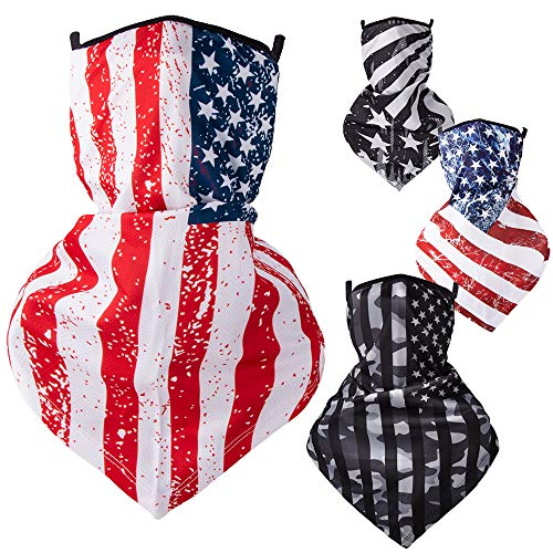 Amoebak Face Mask Bandana, American Flag Face Mask Bandana with Ear Loops