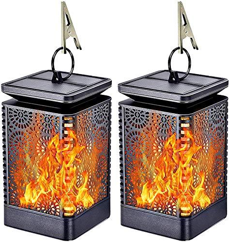 FLOWood Solarleuchte Außen Solar Gartenlaterne Gartenleuchte mit Flammeneffekt wetterfest IP65 ABS 2 Stück