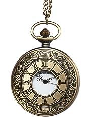 Montoreire 懐中時計 アンティーク レトロ クオーツ チェーン3種 蓋付き