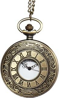 Montoreire 懐中時計 アンティーク レトロ クオーツ チェーン3種 蓋付き (ゴールド)