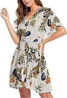 Severkill Maxi Dress Short Sleeve V Neck Floral Flowy Front Button Down Women Summer Beach Party Wedding Dress