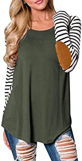 Women's Striped Raglan Sleeve Elbow Patch Casual Tunic T-Shirt Blouse Tops