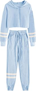 Girl's Sweatsuits Striped Crop Tops Hoodies and...