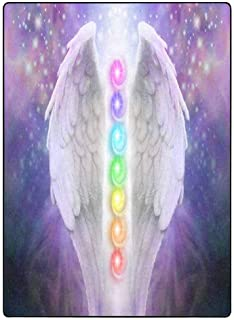 INTERESTPRINT Angel Wings Chakras Darkness and Light Super Soft Fleece Blanket 58