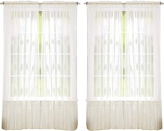 "J&V TEXTILES 55"" inch x 84"" inch Sheer Curtains Window Voile Panels, Set of 4 (Beige)"