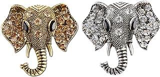 CAILI 2 Juegos de Broche de Elefante, Delicado Broche Vintage, Broche de Aleación + Diamante, Decoraciones Niñas (Bronce +...