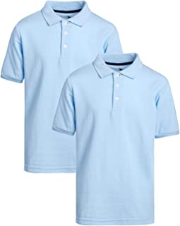 U.S. Polo Assn. Boys' School Uniform Shirt - Pique Short Sleeve Polo T-Shirt (2 Pack), Size 10/12, Light Blue