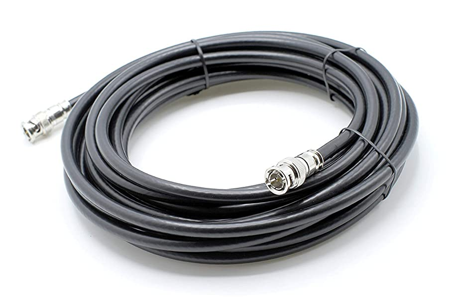 THE CIMPLE CO - BNC Cable, Made in The USA, Black RG6 HD-SDI and SDI Cable (with Two Male BNC Connections) – 75 Ohm, Professional Grade, Low Loss Cable – 25 feet (25')