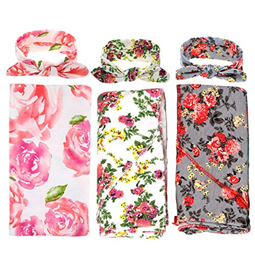 DRESHOW 3 Pack Receiving Blanket with Headbands BQUBO Newborn Baby Floral PrintedBaby Shower Swaddle Gift
