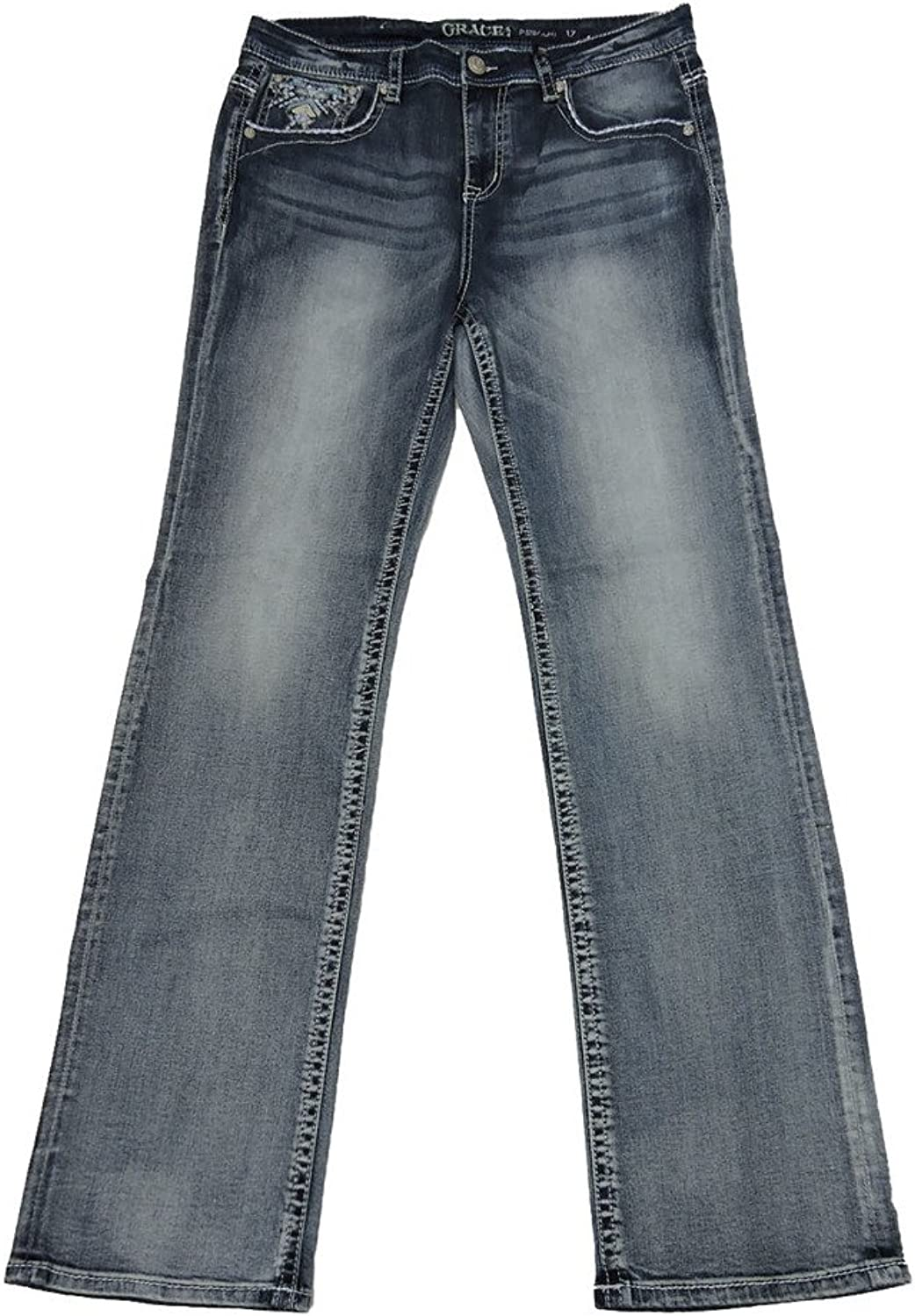 Grace L.A. Idol Women Plus Bootcut Jeans Mid Rise Aztec Diamond Bold Stitch Stretch