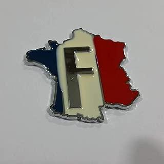 SAISDON- France Flag Union Jack Hq Metal Chrome Car Badge Sticker Decal Emblem Trunk Side Logo Auto 3D Adhesive Die Cast Zinc Alloy [1 Piece][2061]