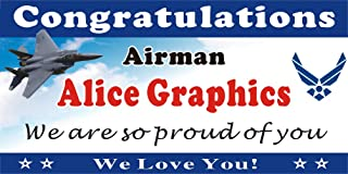 [Vinyl] Alice Graphics 2ftX4ft Custom Personalized Congratulations Airman US Air Force Basic Military Training (BMT) Graduation Banner Sign or Welcome Home Banner