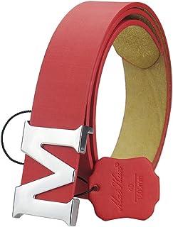 Maikun Womens Leather Belts Removable Letter M Plate Buckle Waist Belt 1.18