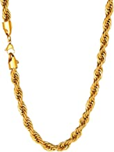 U7 1.3mm-9mm Womens Mens Stainless Steel/18K Gold Plated/Black Gun Twisted Rope Chain Necklace,18