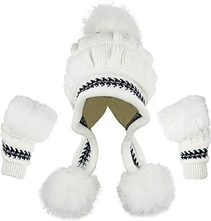 Bellady Women Winter Crochet Knit Ski Warm Beanie Pom Ball Hat