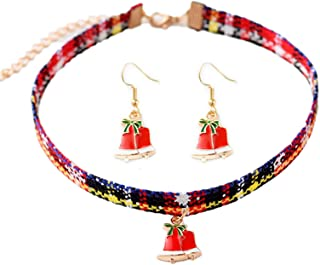 Set Adjustable Classic Christmas Bell Santa Claus Tree Stocking Crutch Choker Necklace Drop Dangle Earrings Cotton Rope Me...