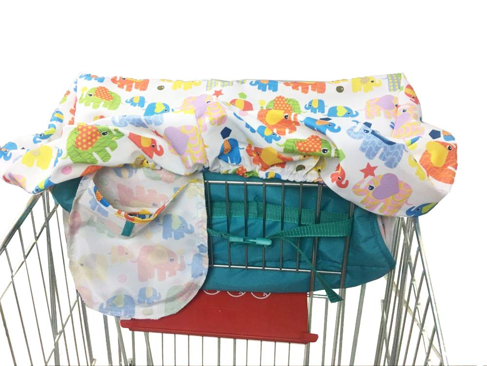 Portable Shopping Cart Cover | High Chair and Grocery Cart Covers for Babies, Kids, Infants & Toddlers ✮ Includes Free Carry Bag ✮ (Simple Elephant)