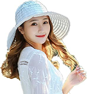 Women's Sun Visor Hats Packable Large Brim UV Protection Cap, Adjustable Summer Beach Hat with Chin Strap (12 Colors)