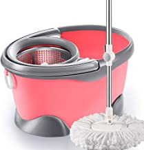JUAN Stainless Steel Deluxe Rolling Spin Mop with 4 Microfiber Mop Heads,Mop Bucket Rotating Mop Wet and Dry Household Aut...