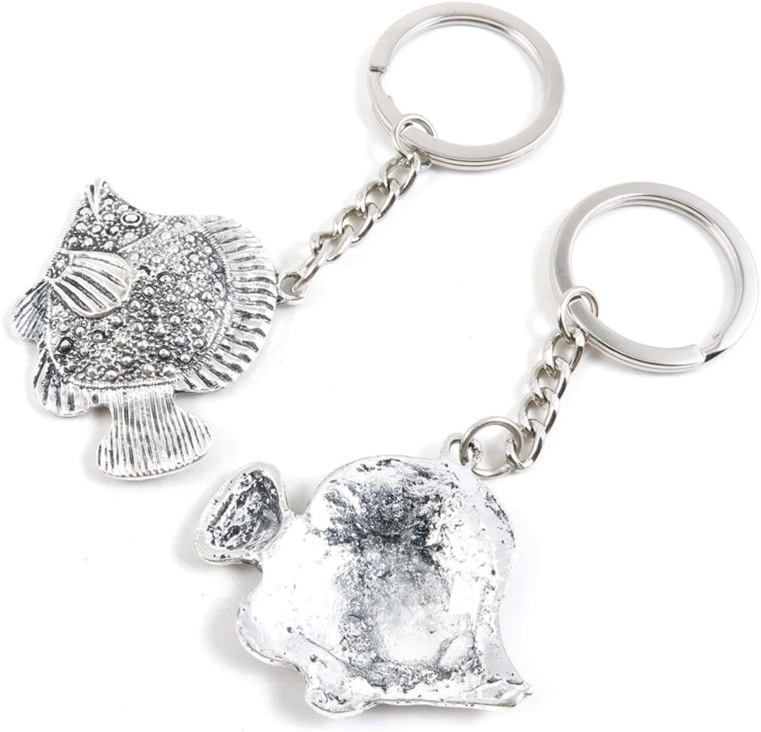 100 Pieces Keychain Keyring Door Car Key Chain Ring Tag Charms Bulk Supply Jewelry Making Clasp Findings K8CR8Q Tropical Fish