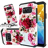 Red Floral Phone Case Compatible for [ Samsung Galaxy S8 Plus ] Storm Buy [Shock Absorption] Dual Layer Heavy Duty Pink Rose Protective Girl Women Rubber Cover (Red- S8 Plus)