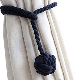 DEZENE 2 Pack Curtain Tiebacks,Handmade Natural Cotton Rope and Round Finial Drapery Tie Bakes,Decorative Holdbacks Holders for Window Sheer and Blackout Panels,Navy