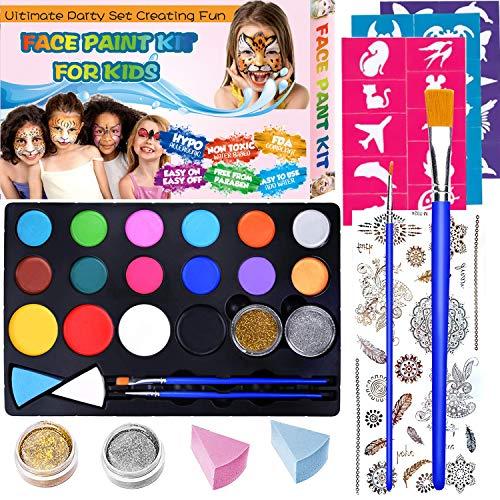 Pinturas Cara para Niños Pintura Facial no Tóxicos, Maquillaje al Agua para Halloween/Fiestas/Cosplay, 16 Colores Kit de Pintura Facial para Niños con 30 plantillas, 2 pinceles, 2 Glitter, 1 tatuaje