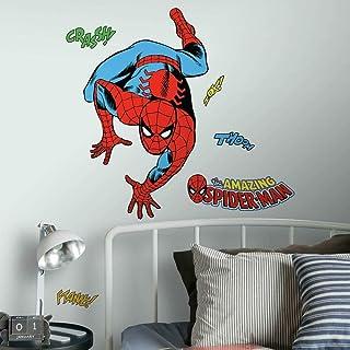 RoomMates RMK3253GM Classic Spider-Man Comic Peel & Stick Wall Decals, Black
