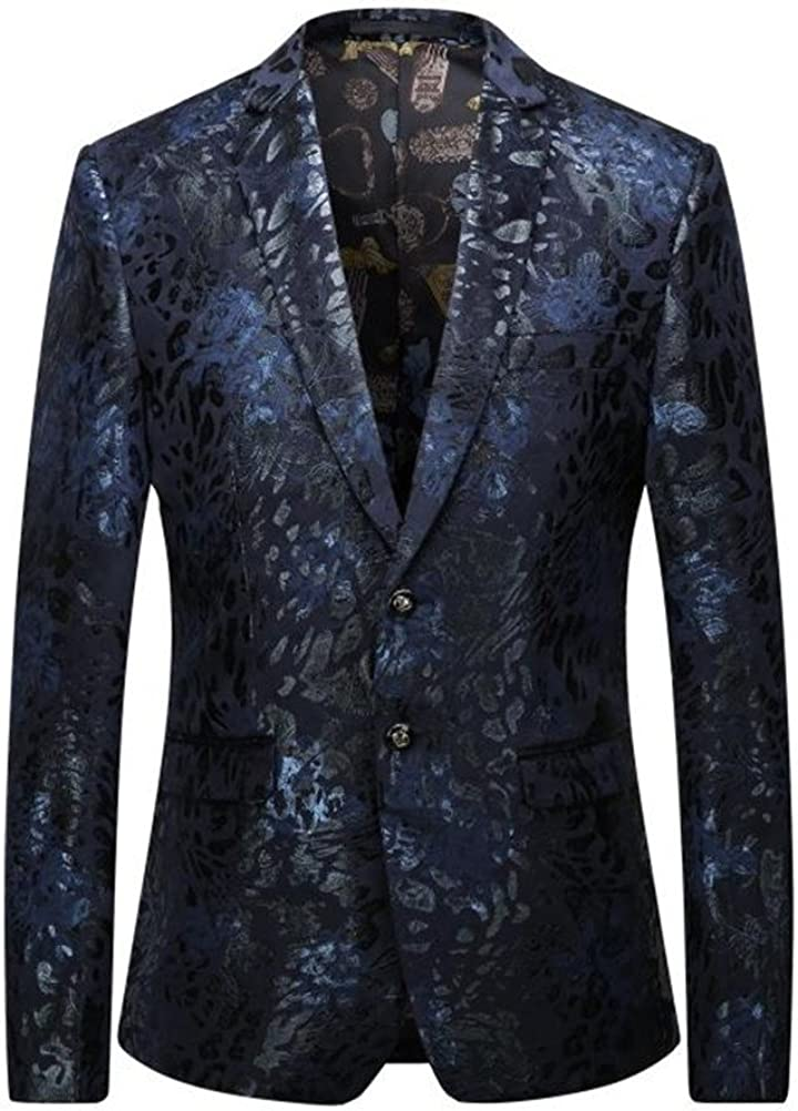 Mens Blazers Floral Party Dress Suit Notched Lapel 2 Buttons Slim Fit Stylish Dinner Jacket Wedding Prom Tuxedo